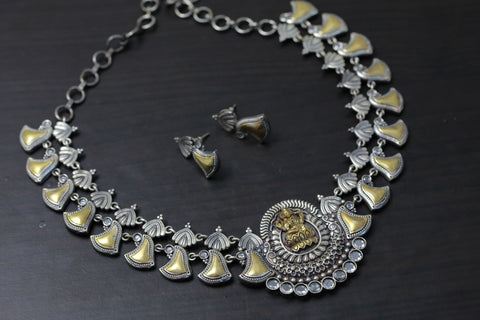 Clear Polki Lakshmi Dual Tone Necklace