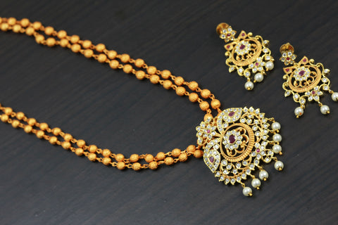 Antique Gold Ruby Polki Necklace Set