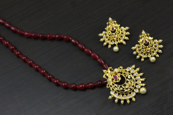Polki Beaded Necklace Set - Ruby