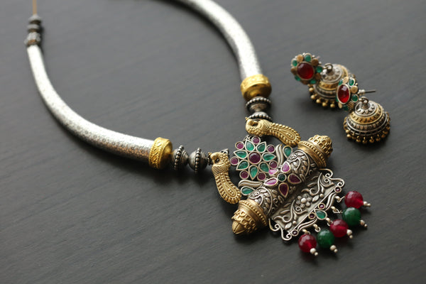 Dual Tone Emerald Ruby Hasli Necklace