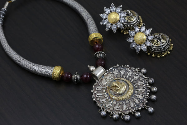 Dual Tone Ganesha Hasli Necklace