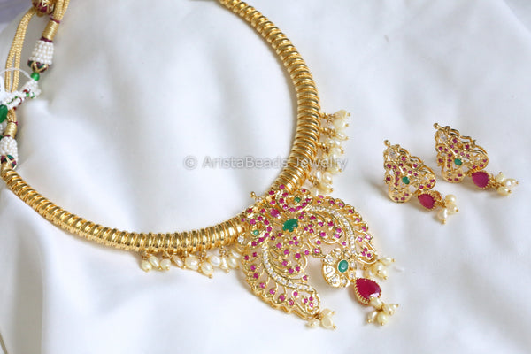 Gram Gold Polki Hasli Necklace - Real Pearls