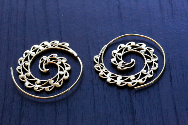 Tribal Brass Spiral Hoops