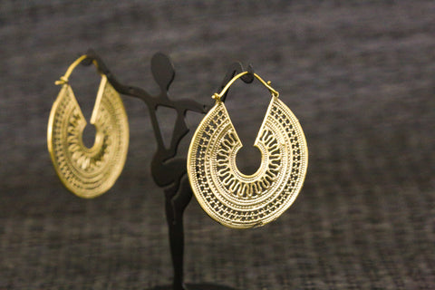 Copy of Silver Brass Tribal Hoops - AristaBeads Jewelry - 1