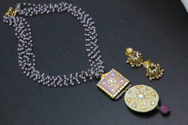 Lavender Kundan Jadau Beaded Necklace