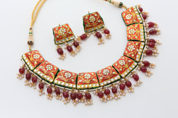 Royal Kundan Jadau Necklace - Red