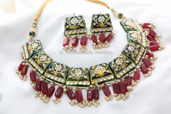 Blue Enamel Kundan Jadau Necklace