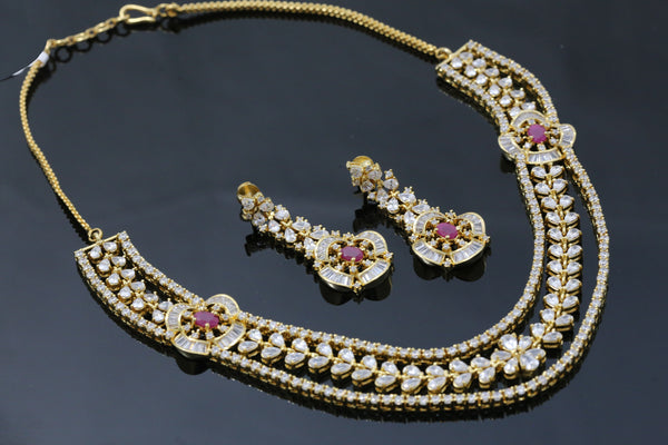 Designer Ruby CZ Necklace Set