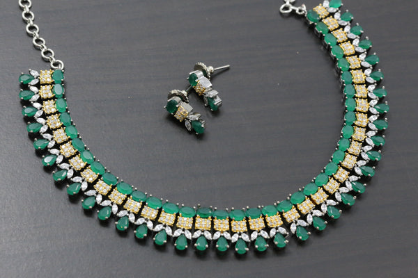 Dual Tone Emerald Necklace Set