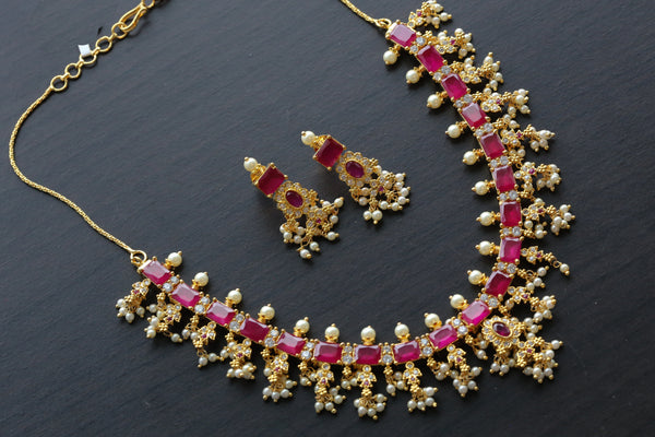 Delicate  Ruby Pearl Necklace Set