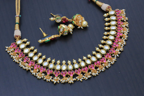 Kundan Necklace With Pearl Drops