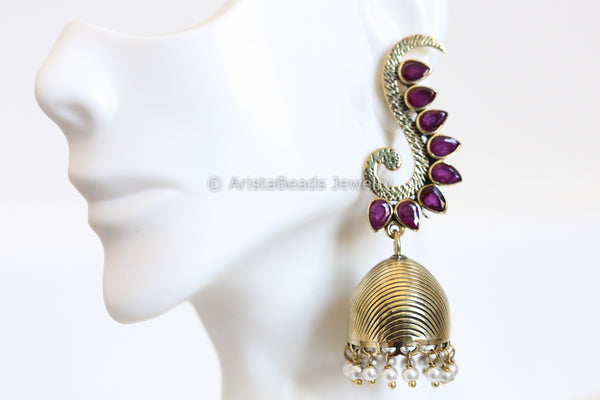 Antique Brass Finish Ruby Jhumka