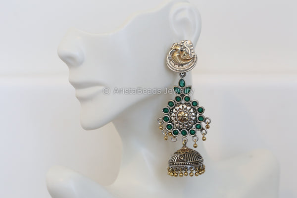 Layered Emerelad Dual Tone Jhumka