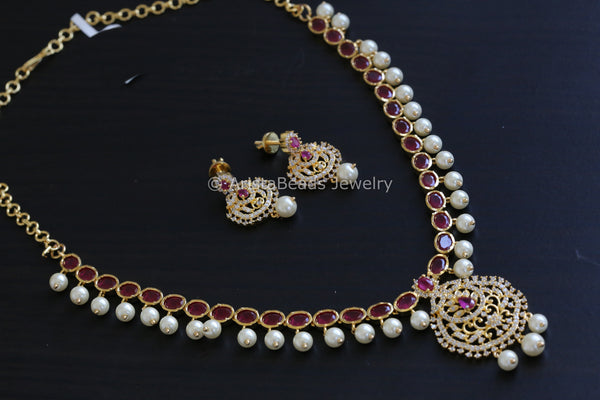 Delicate Ruby Polki CZ Necklace