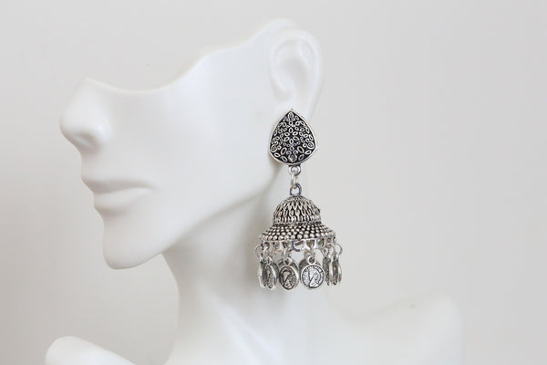 Oxidized Silver Finish Earring - AristaBeads Jewelry - 2