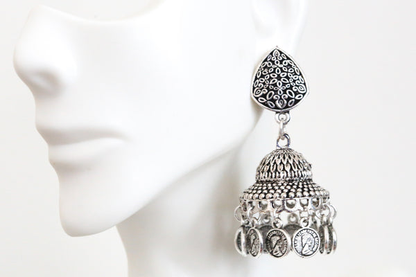 Oxidized Silver Finish Earring - AristaBeads Jewelry - 1