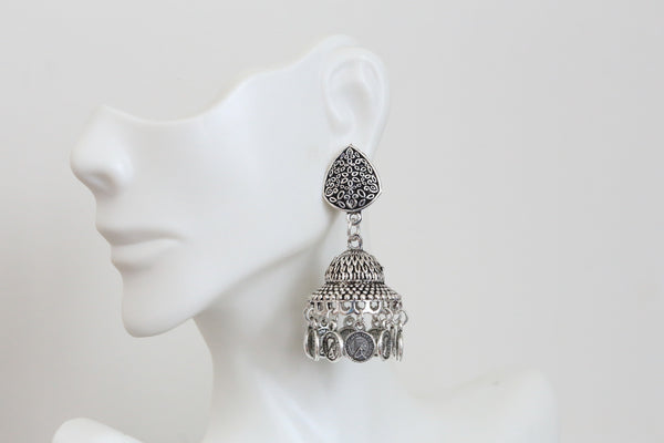 Oxidized Silver Finish Earring - AristaBeads Jewelry - 3