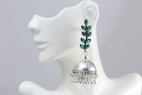 Long Silver Tone Green Jhumka