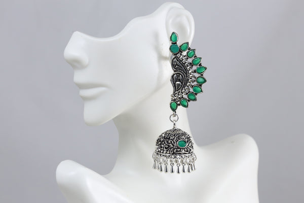 Green Stud Silver Finish Jhumka