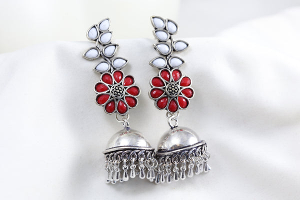Red White Stud Jhumka