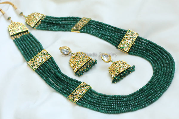 Reserved for Poonam> Contemporary Layered Emerald Jadau Necklace