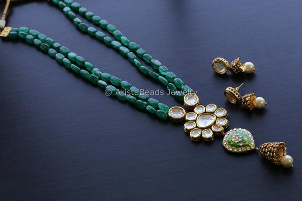Emerald Jadau Kundan Necklace Set