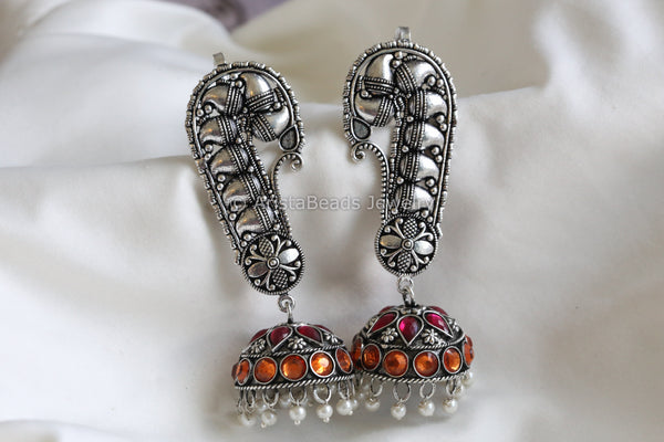 Oxidized Jhumka with Ear Cuff