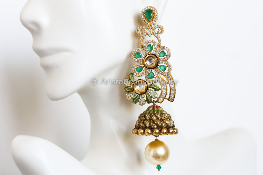 Antique Gold Kundan & CZ Jhumka -Emerald