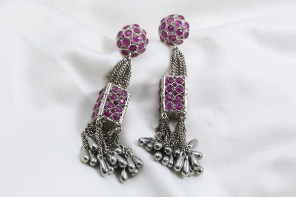 Ruby Polki Oxidized Earrings