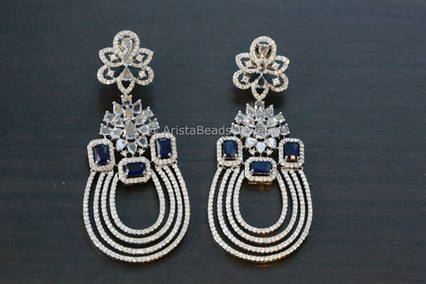 Contemporary Silver Finish Blue Chandbaali