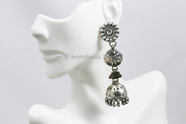 Ethnic Long 925 Sterling Silver Earrings