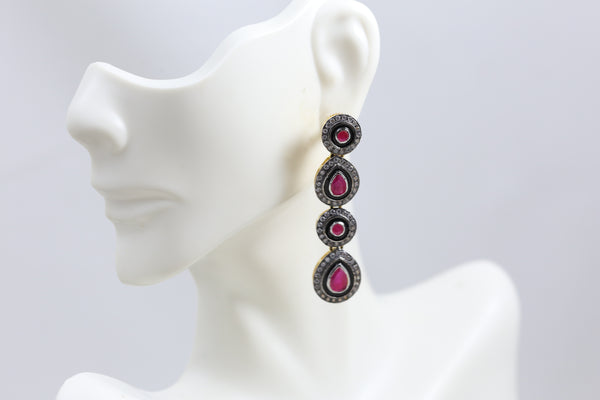 Uncut Ruby Victorian Earrings