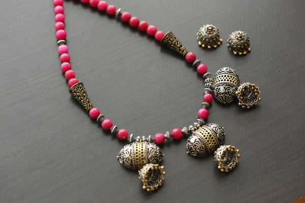 Dual Tone Jhumka Necklace _ Magenta Color