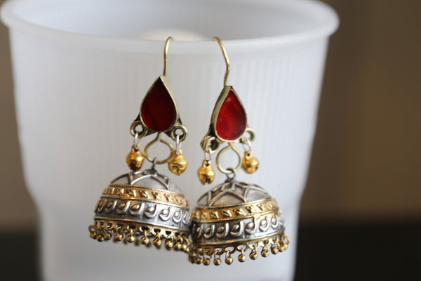 Hand beaded Afghan Oxidized Jhumka