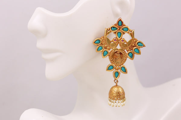 Antique Gold  Layered Jhumka - Turquoise
