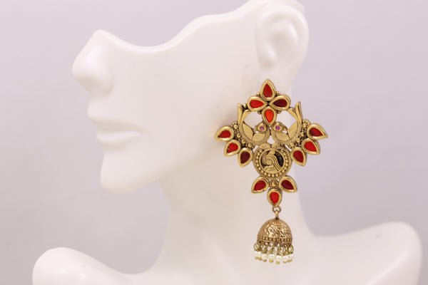 Antique Gold  Layered Jhumka - Red