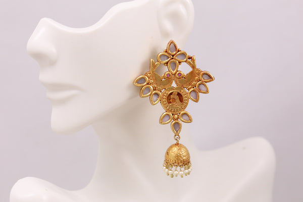 Antique Gold  Layered Jhumka - Shell