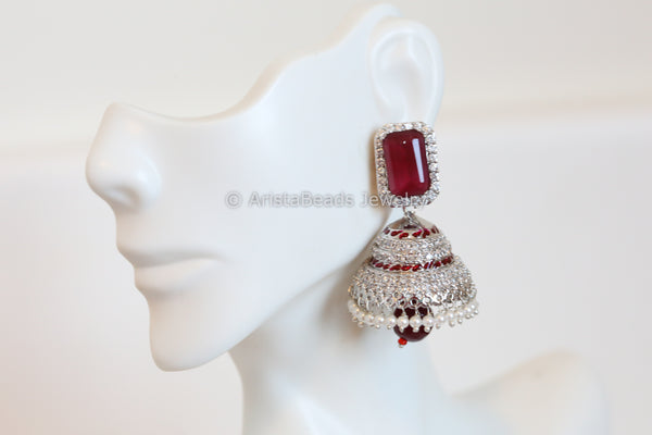 Contemporary Silver Finish Jhumka
