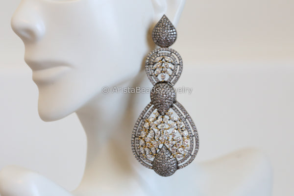 Contemporary Oxidized Finish CZ Earrings
