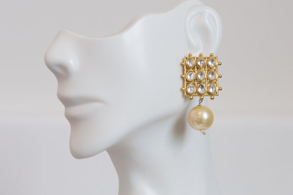 Kundan Studs with Pearl Drops