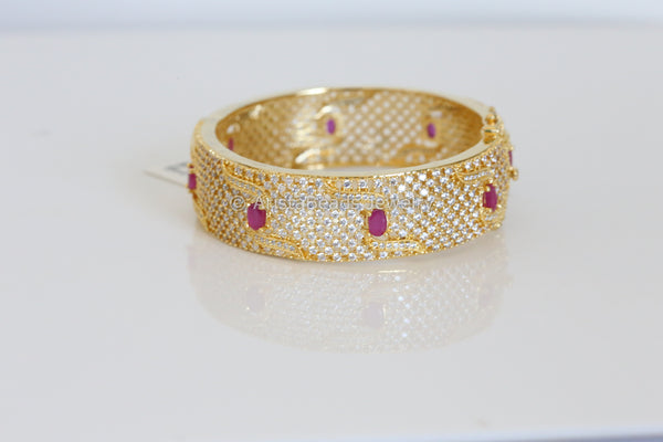 Wide Polki  CZ Kada Bangle