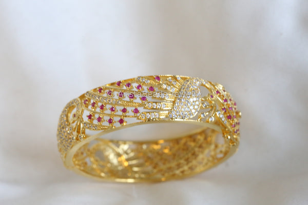 CZ Peacock Ruby Kada Bangle