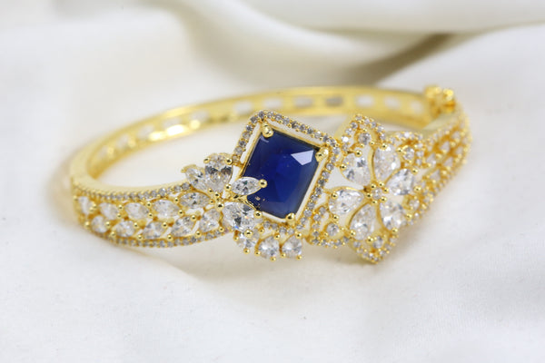Blue CZ Gold Bracelet (Openable)