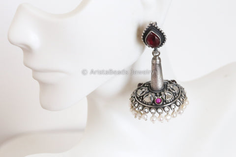 Reserved> 925 Sterling Silver Ruby Kemp Jhumka