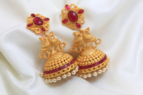 Dull Gold Kemp Antique Jhumka - Ruby - AristaBeads Jewelry - 1