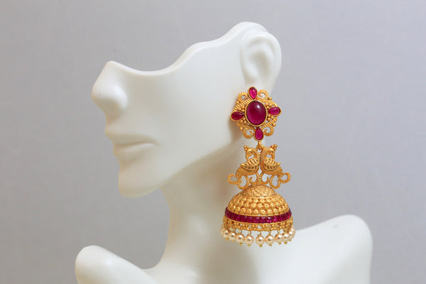 Dull Gold Kemp Antique Jhumka - Ruby - AristaBeads Jewelry - 2