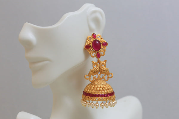 Dull Gold Kemp Antique Jhumka - Ruby - AristaBeads Jewelry - 3