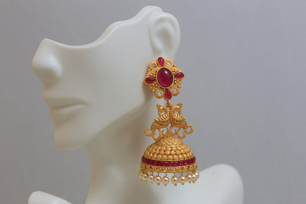 Dull Gold Kemp Antique Jhumka - Ruby - AristaBeads Jewelry - 4