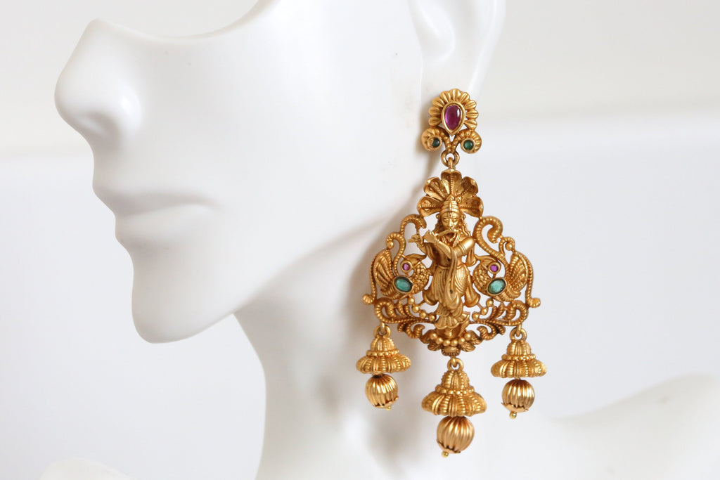 Emerald Ruby Shri Krishna Earrings