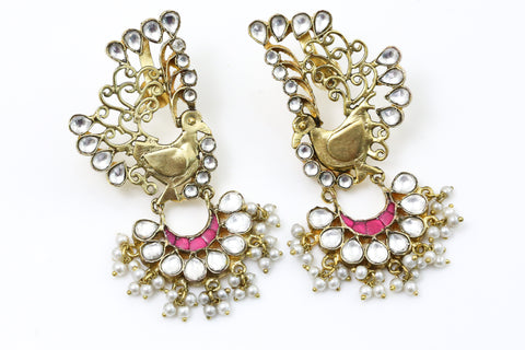Kundan Peacock Earrings - Ruby
